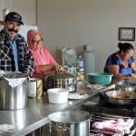 cooks prepare for lunch