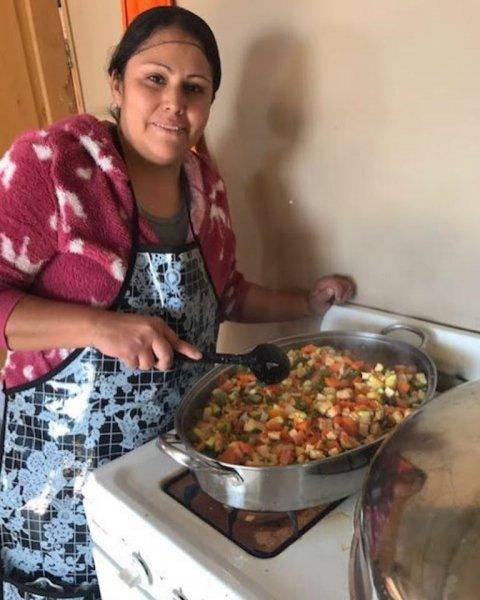 Senior Lunch Program cooking.